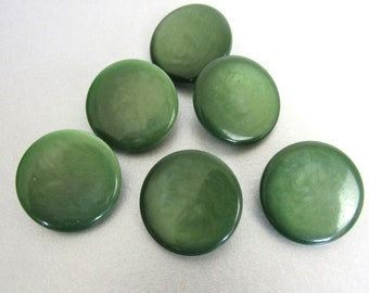 6 Medium Pearly Green Vintage Buttons