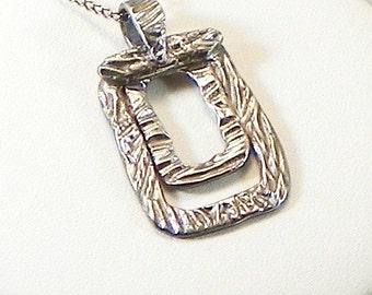 Silver Rectangles Pendant Necklace  Contemporary Silver