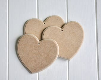 Set of 3 hearts made of wood (MDF) blank.