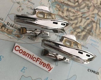 Men's Vintage Cufflinks Antique Silver Plated Boat Cufflinks Made In USA SWANK Brand Cufflinks Steampunk Cufflinks Mid Century 1950's