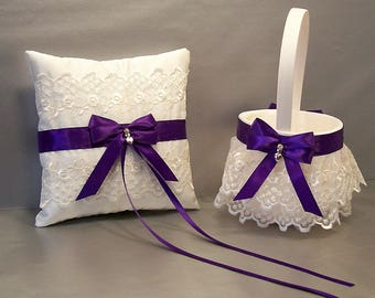 Regal Purple Wedding  Flower Girl Basket & Ring Bearer Pillow Set on Ivory or White ~ Allison Line ~ (May also be purchased individually)