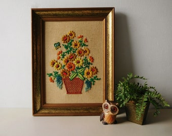 Vintage 1970s needlework picture Yarn flower picture Embroidered picture