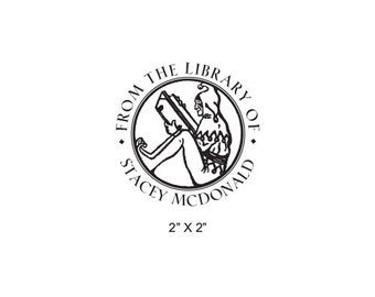 Jester Reading Personalized Ex Libris Library Stamp Rubber Stamp M07
