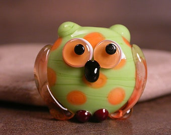 Glass Owl Bead Focal, Lampwork Birds, Owl Animal Totem, Whimsical Owl, Divine Spark Designs, SRA
