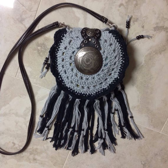 Handmade Purse Crocheted small boho hippie fringed crossbody shoulder bag, Free Shipping