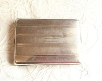 Original Cigarette Case, Vintage Smokes Holder Case, Made in Canada by Edwin, Silver Tone Business Card Case