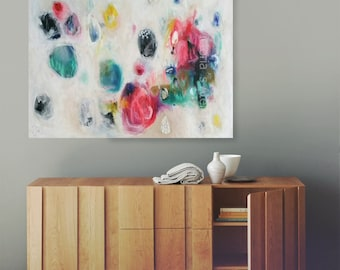 Colorful Dots Large canvas art, abstract painting, large abstract painting, acrylic painting, large wall art, canvas painting 36 x 28 in