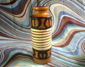 Mid Century Vintage West German Scheurich Vase. Brown Black. Fat lava.