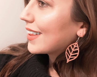 Faux Leather Vegan Leather Leaf Earrings