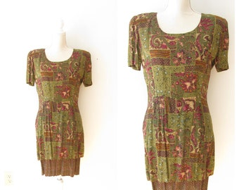 Vintage 80s Layered Print Dress/ 1980s Short Sleeve Dress// size Small Medium