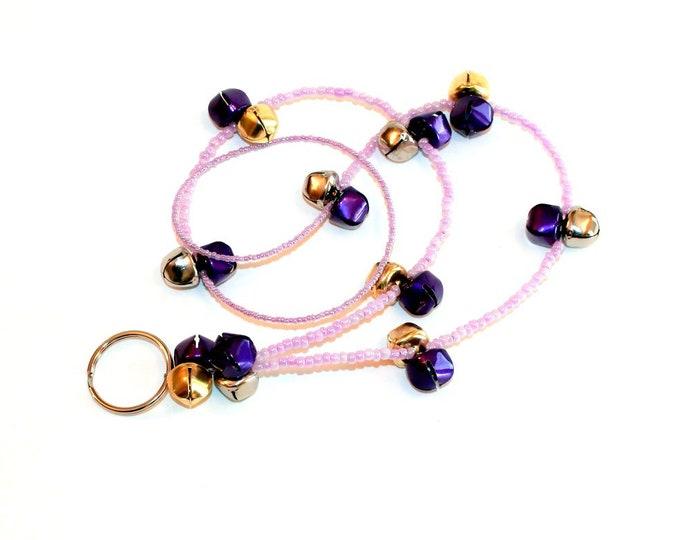 Purple Jingle Bell Beaded Lanyard, ID Badge Holder, Bell Art Designs LAN0130