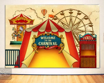Carnival Backdrop Printable Vintage Carnivale Poster Instant Download Circus Tent Big Top Amusement Park Background Photobooth