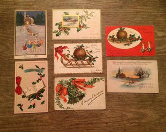 Antique Christmas Post Card Lot of 7 Early 1900s Vintage Paper Holiday