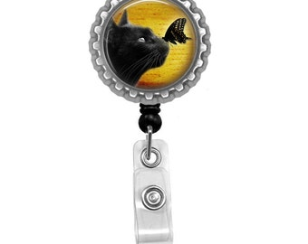Black Cat And A Butterfly Photo Glass/ Bottle Cap Retractable ID Badge Reel