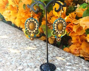 Soutache Earrings, Beaded Earrings, Drop Beaded Earrings, Earrings, Dangle Bead Earrings, Crystal Bead Earrings, Boho Bohemian Earrings,