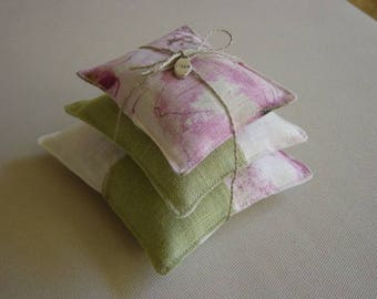 Trio cushion wadding and lavender, linen