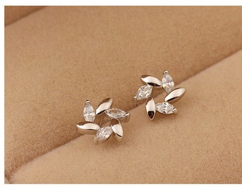 925 silver white color crystal stud earring - Wedding Jewelry - E005