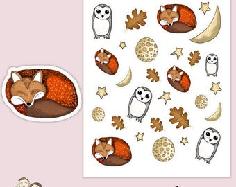 FOX AND FALL | Planner Stickers  | Owl | Moon | Autumn | Erin Condren |   | S77