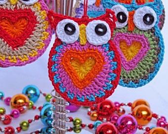CROCHET PATTERN - Owl Always Love You - crochet owl pattern, owl motif pattern, owl ornament, owl coaster pattern - Instant PDF Download