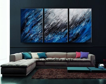 Large Wall Art Blue Acrylic ABSTRACT PAINTING Wall Decor Grey Abstract Paintings Canvas Art Contemporary Art Wall Hanging Home Decor Artwork
