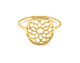 Mandala Ring, Mandala Jewelry, Yoga Ring, Meditation Jewelry, Spiritual Ring, Boho Chic Jewelry, Ethnic Jewellery, Gold Plated Jewelry