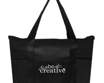 Be Creative Black Zippered Non-Woven Tote Bags