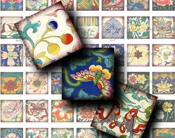 Asian Ornament (2) Digital Collage Sheet - 56 Squares 1 inch - 25mm, smaller or scrabble size - See Promo Offer