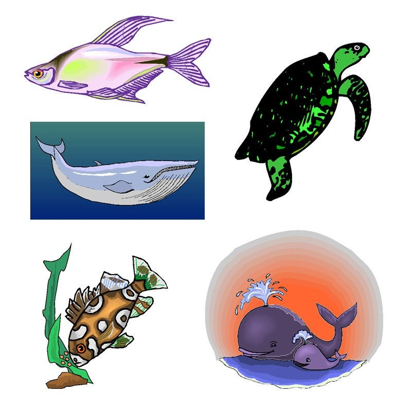 sea animal clipart sea animals clipart se z sea creatures cliparts rh etsystudio com sea animals clip art black and white cute sea animal clipart