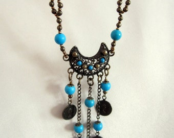 1 Necklace with coins. Pendant in the style of Boho. Necklace is turquoise-brown. Holiday gift for a girl, mom's girlfriend
