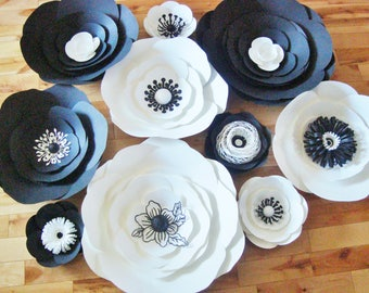 Paper Flower Anemones Set of 30 - Black and White | Paper Flower Wall | Paper Flower Backdrop | Paper Flowers | Paper Anemone | Anemone