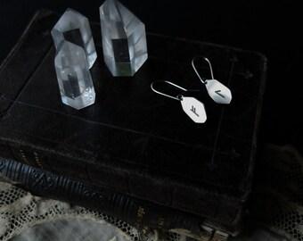 Runic drop earrings. Custom (sterling silver - your choice of rune: Algiz, Othala, Ansuz, Fehu, Dagaz, Jera, Thurisaz, Tiwaz, Wunjo, ...)
