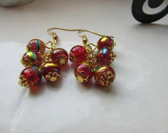 Red and gold earrings , Cluster earrings , Gold plated earrings , Beaded earrings , Dangle earrings , Gifts for her