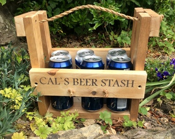 Personalised beer carrier fathers day