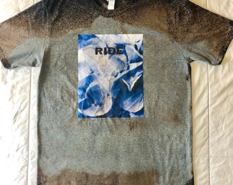 Ride Smile LP cover Shoegaze-shoegazing-Dreampop Acid Dye Navy/Grey/Brown T-shirt Size Med