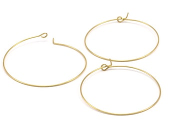 Brass Earring Wires, 50 Raw Brass Earring Wires (40x0.7mm) Bs 1080