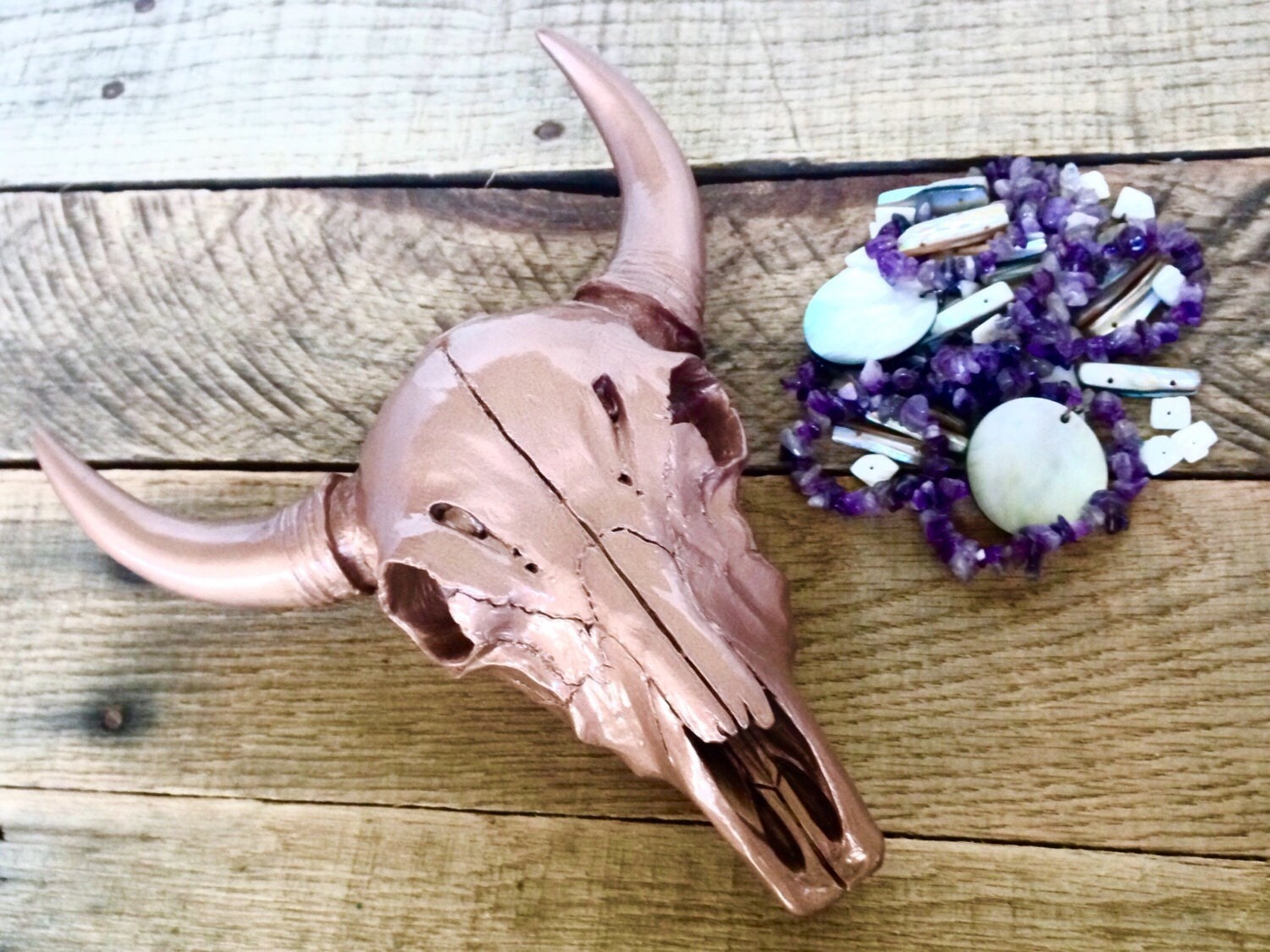 Rose Gold Cow Skull Faux Taxidermy Home