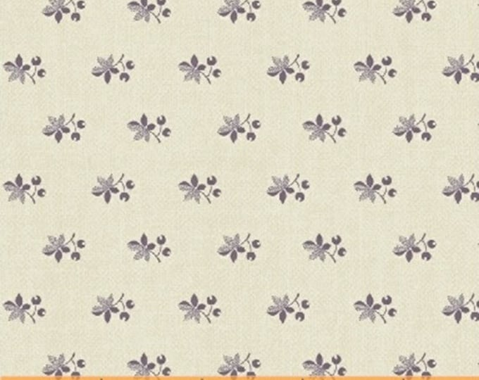 Half Yard Chambray Rose - Spaced Leaf in Cream and Lavender - Floral Cotton Quilt Fabric - Nancy Gere for Windham Fabrics - 40831-2 (W3442)