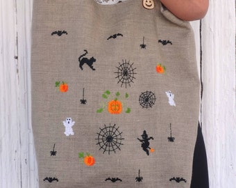 Custom Halloween tote bag Hand embroidered Totes Halloween gift for her Trick or treat tote Pumpkin linen shopper bag canvas tote Spider bag