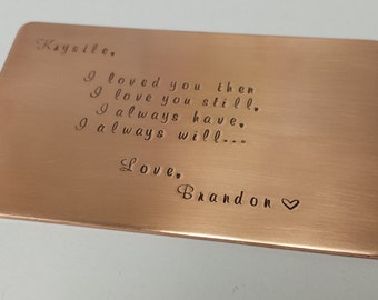 Copper wallet insert card, 7th anniversary gift, wedding, groom gift, Christmas gift