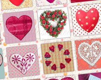 It's A Heart Thing Printable One Inch Squares / Valentine's Day / Valentine / Hearts - DOWNLOAD One Inch Squares Digital JPG Collage Sheet