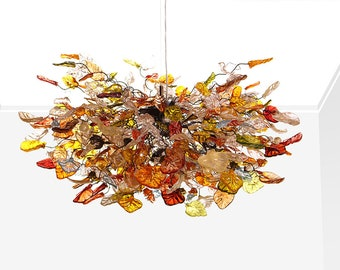 Ceiling Light Fixture ,Home Lighting - Hanging chandeliers with warm color flowers and leaves for Dining Room, bedroom or living room.