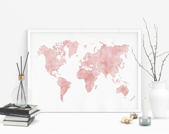Pink watercolor map, Printable world map, Large world map, Watercolor world map, Map art, Map poster