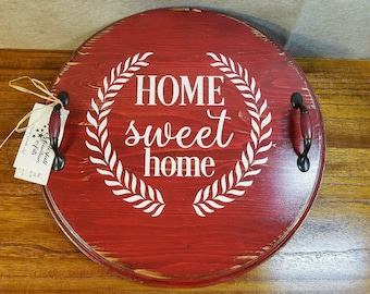 Round Serving Tray, Rustic Wood Tray,  Vintage Style Tray, Mothers Day Gift, Rustic Decor, Barn Red, Farmhouse Decor, 17.5 Inches Round