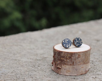 Navy Gold Sparkle Geometric Wood Earrings // Gold Earrings // Wood Earrings // Circle Earrings // Glitter Studs