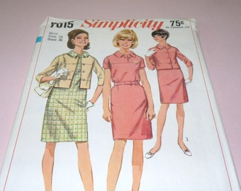 1967 Simplicity 7015 Size 16 Bust 36 One piece Dress and Jacket Uncut and Complete