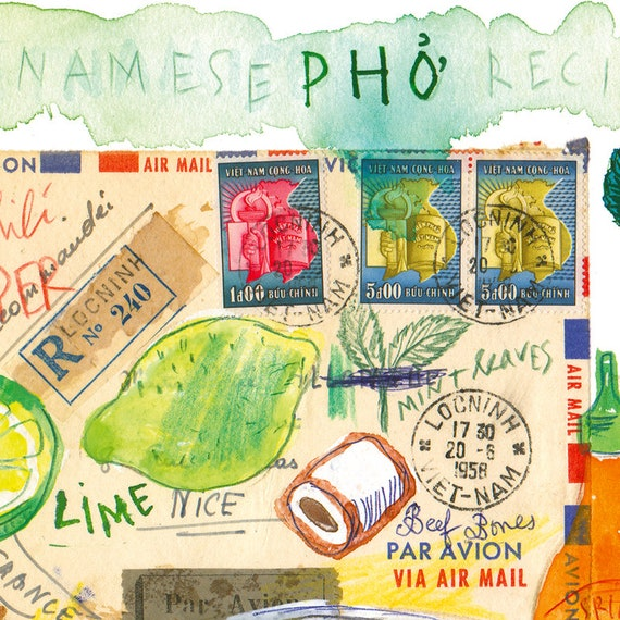 Vietnamese Pho recipe art print Vietnam wall art Watercolor