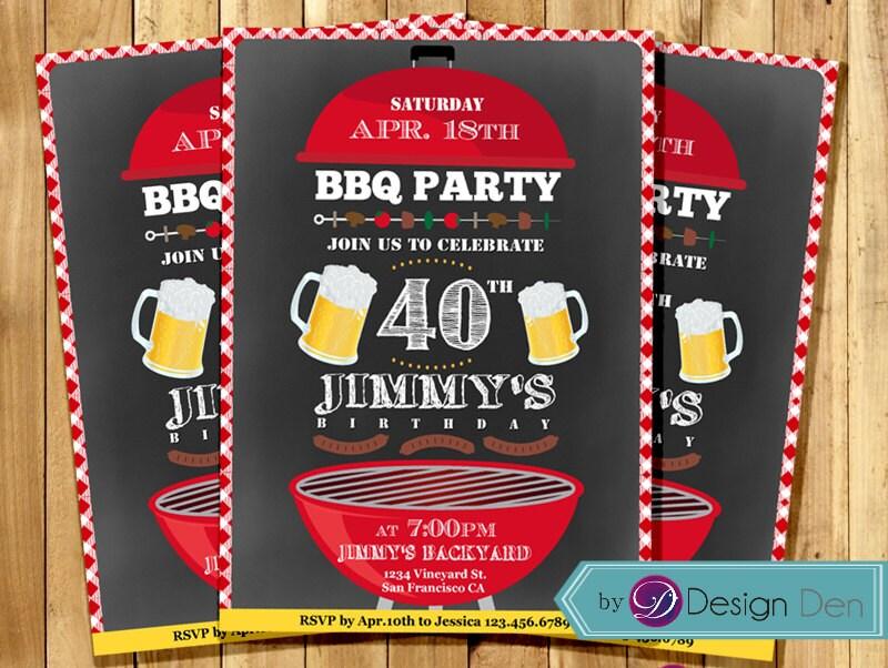 BBQ Birthday Invitation BBQ Party Invitation Picnic