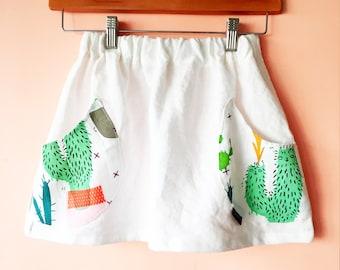 Girls Linen Cactus  Skirt size 6 left