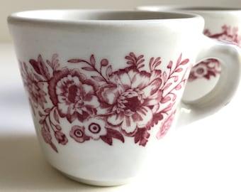 Caribe Coffee Cups - set of 2 - Vintage Restaurant Ware - Burgundy Flowers