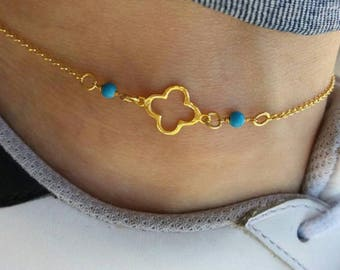 Four leaf clover anklet, shinny anklet, clover anklet gold, beach anklet, turquoise anklet, foot jewelry, summer look, bridesmaid gift